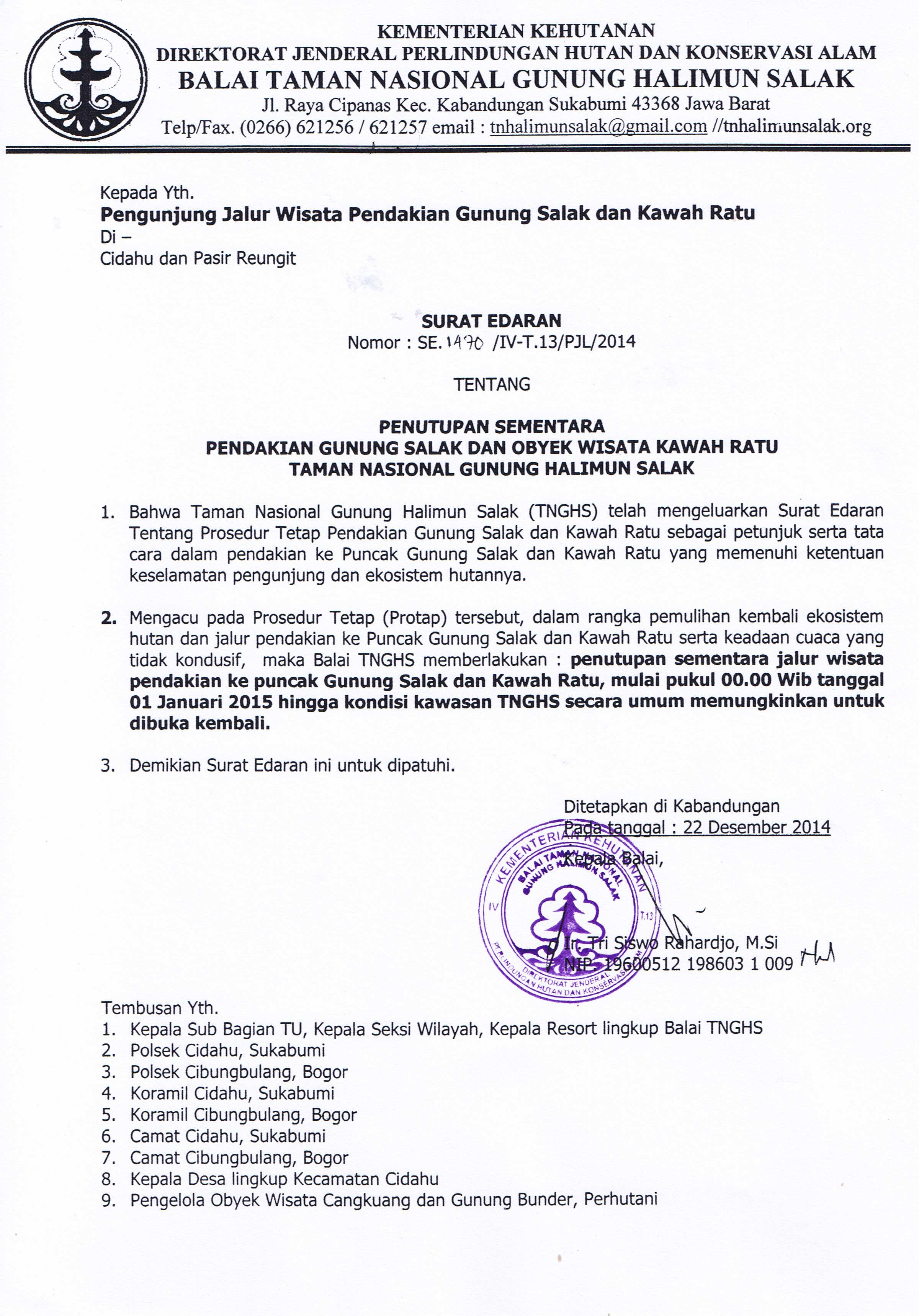 Surat edaran Penutupan Jalur Pendakian